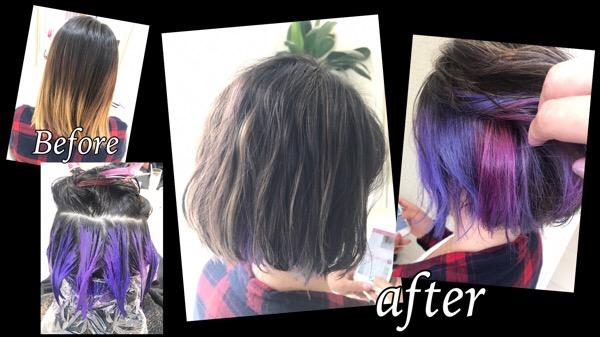 パープル3色のインナーカラーとハイライトがお洒落すぎる!【さきさん】の髪