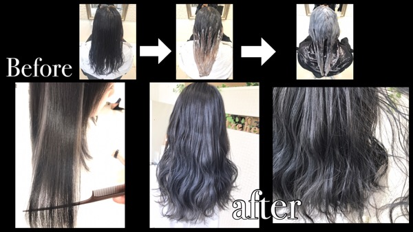 大阪でアールブリーチを使ってダメージ抑えたのブリーチを使ったアッシュグレー【りかさん】の髪