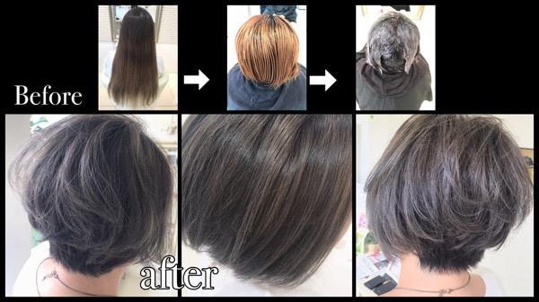 大阪でアールブリーチを使ってダメージを抑えて髪の毛を白くしていく外国人風カラー【ゆみこさん】の髪