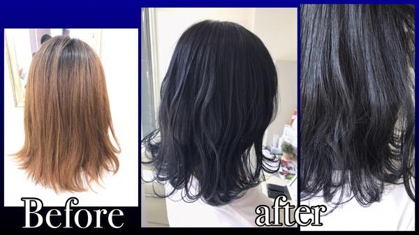 濃厚なネイビーブラックでお洒落な黒髪にしよう!!!【ひなのさん】の髪