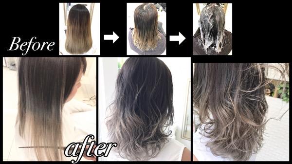 大阪でアールブリーチを使ったダメージレスな外国人風グラデーションカラー【あやさん】の髪