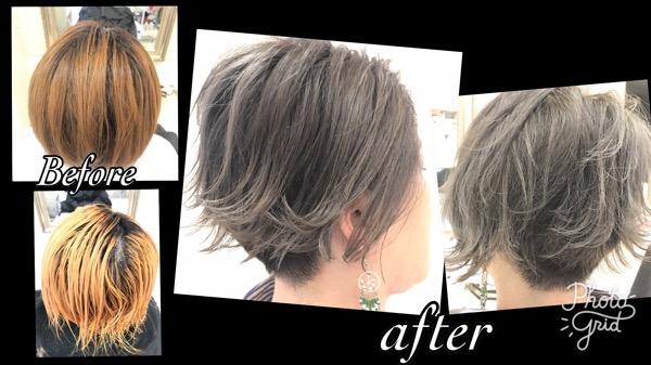 アールブリーチを使って段階的なホワイトグラデーションカラーを目指す!【ゆみこさん】の髪