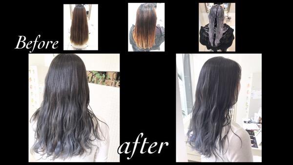 アールブリーチを使ったバイオレットブルーのグラデーションカラー【ももこさん】の髪