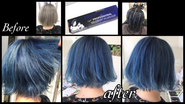 マニックパニックプロフェッショナルのブルーベルベットの青カラー【みきさん】の髪