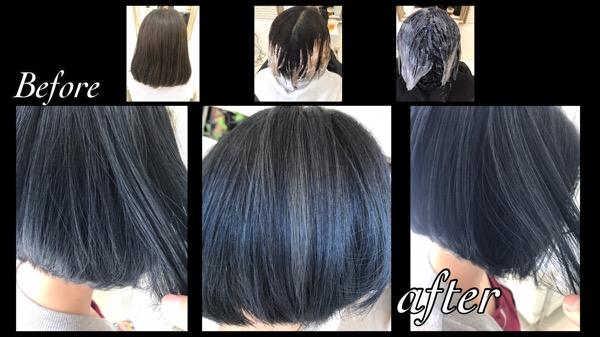 アールブリーチをつかってグラデーションカラーで濃厚ブルーカラー!!【みさとさん】の髪