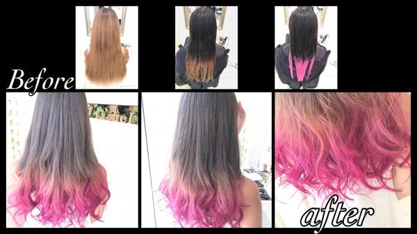 カラーバターを使ったピンクのグラデーションカラー【ななみさん】の髪