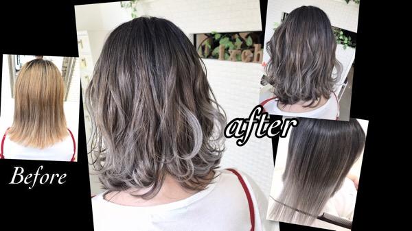 毛先を白くするホワイトグラデーションカラーが可愛い!!【みさとさん】の髪