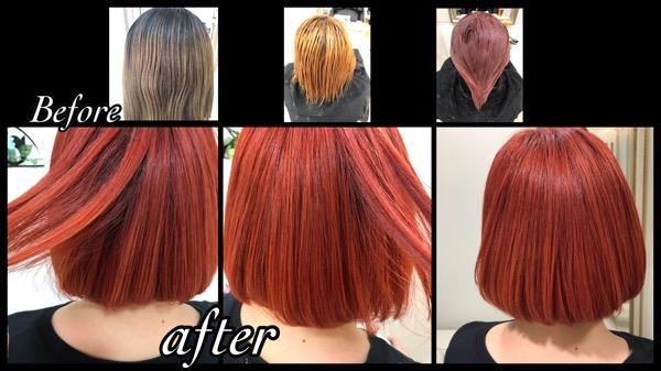 アールブリーチからのサンセットオレンジカラーが可愛い!!【ゆかさん】の髪