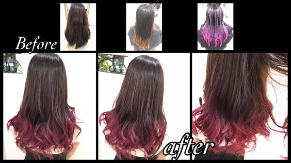 大阪でカラーバターを使ったお洒落なピンクグラデーションカラー【さくらさん】の髪