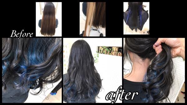 インナーカラーの青を綺麗に入れる方法【みづきさん】の髪