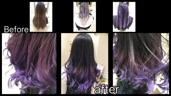 大阪でネイビーラベンダーのグラデーションカラーがお洒落!!【さきさん】の髪