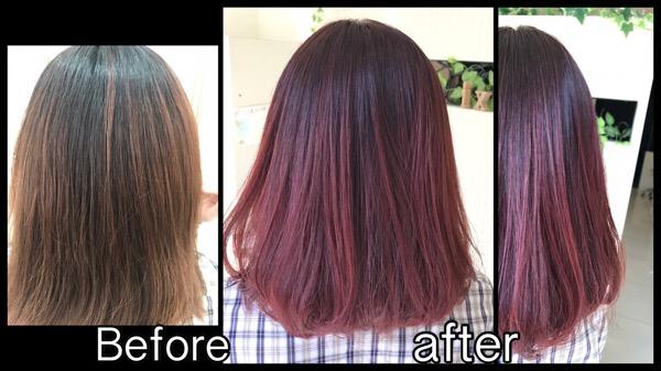 濃厚なレッドパープルのお洒落カラーで秋仕様に!【ちなみさん】の髪
