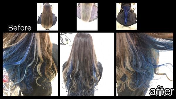 大阪でブルーとシルバーのインナーカラーがお洒落すぎる!!!!【ちづるさん】の髪