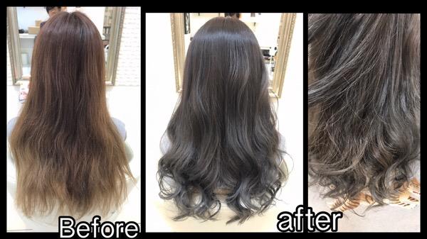 シークレットハイライトを入れて段階的に外国人風カラーに変えていく!!!【りおさん】の髪