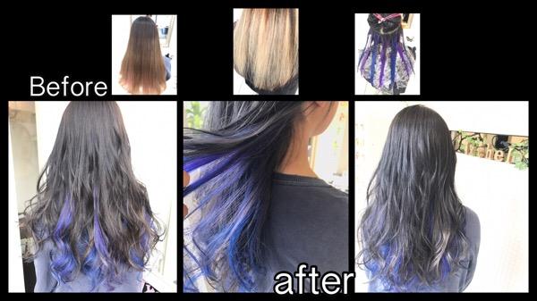 大阪でブルーとパープルとシルバーのインナーカラーがお洒落すきる!【ももかさん】の髪