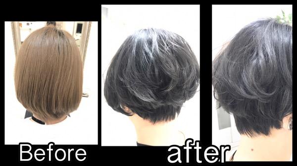 大阪で新色【スモークグレー】がブリーチ毛には効果抜群!!!【もえこさん】の髪