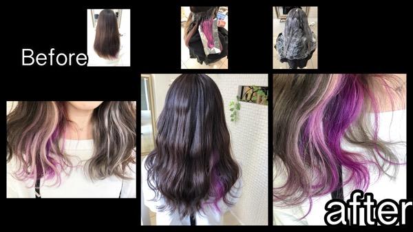 大阪で白とピンクパープルのインナーカラーがお洒落すぎる外国人風カラー【りささん】の髪