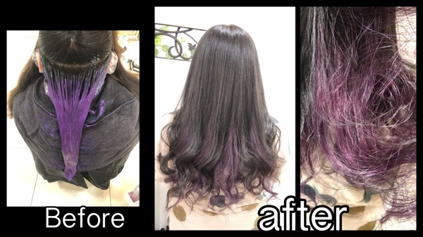 大阪でピンクパープルのインナーカラーとスモークミルクグレージュ【ふみさん】の髪