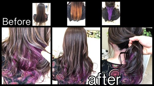 大阪で紫のインナーカラーと透明感のある外国人風カラー【まみさん】の髪