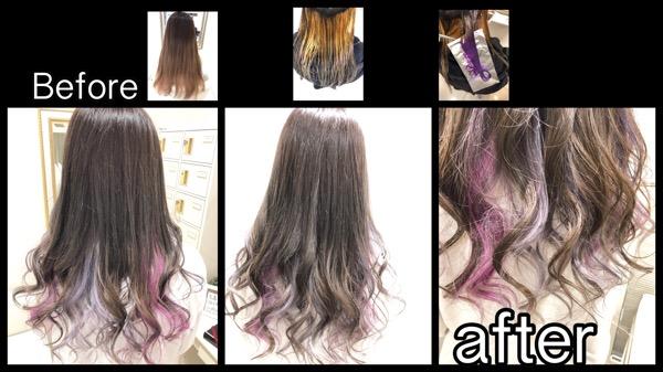 大阪でインナーカラーシルバーとピンクパープルに濃厚グレーアッシュが凄い!!【ももかさん】の髪