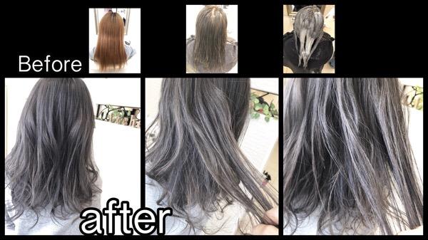 大阪でブリーチ毛からのグレージュのダブルカラーで安定した外国人風カラーの完成です!!【みよさん】の髪