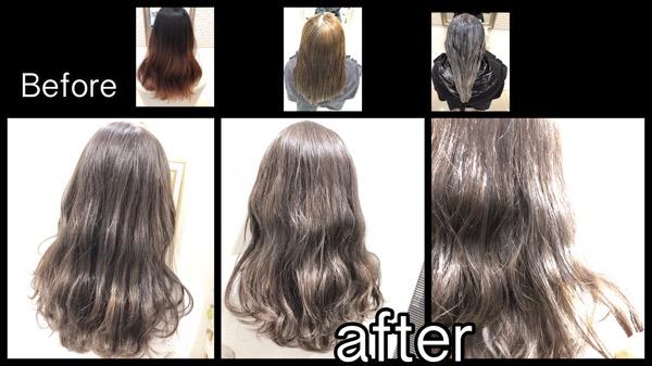 大阪で黒染めからのアールブリーチによるミルクティーグレージュの透明感グラデーションカラー【ゆづきさん】の髪