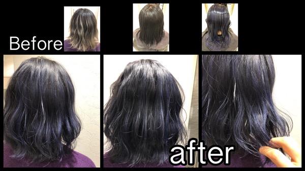 大阪で退色したらグレーパープルになるお洒落すぎる濃厚ブルーカラー【れいまさん】の髪