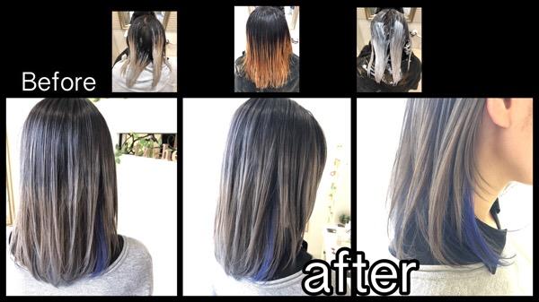 積み重ねるホワイトグラデーションカラーとポイントカラーのブルーがお洒落!【いつきさん】の髪