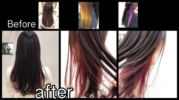 関西でお洒落なピンクパープルのインナーカラーが可愛い!!【けいこさん】の髪