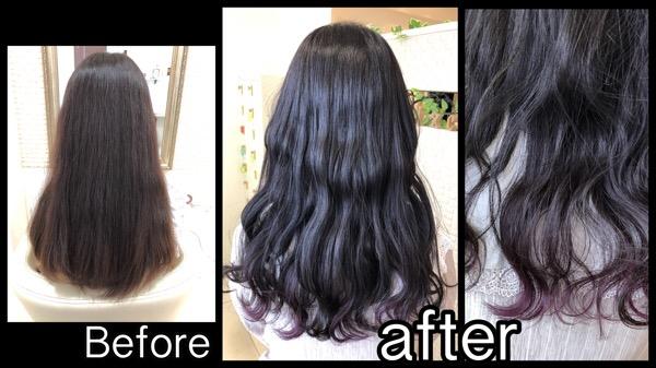 関西でディープパープルカラーとさりげないインナーカラー【はるなさん】の髪