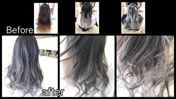 関西で段階的にホワイトグラデーションカラーを再現していく方法【ちかさん】の髪