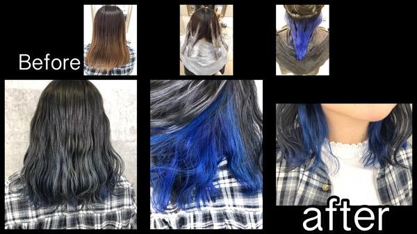 関西で青のインナーカラーと濃厚ブルーアッシュなお洒落カラー【きょうこさん】の髪