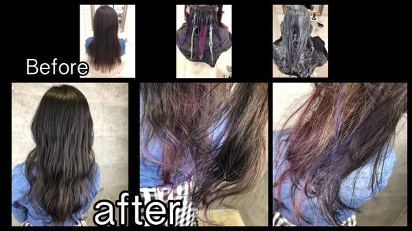 大阪でラベンダー、ピンク、シルバーのインナーカラー【せいこさん】の髪
