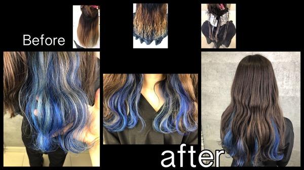 大阪でブルー、シルバー、水色のユニコーンでインナーカラーが可愛い!【りささん】の髪