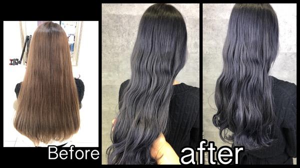 大阪でアールブリーチベースからの超濃厚なブルーグレーな外国人風カラー【りゆさん】の髪
