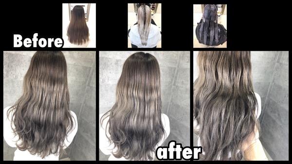 大阪でアールブリーチからのハイトーンシルバーグレージュのお洒落外国人風カラー【みさきさん】の髪