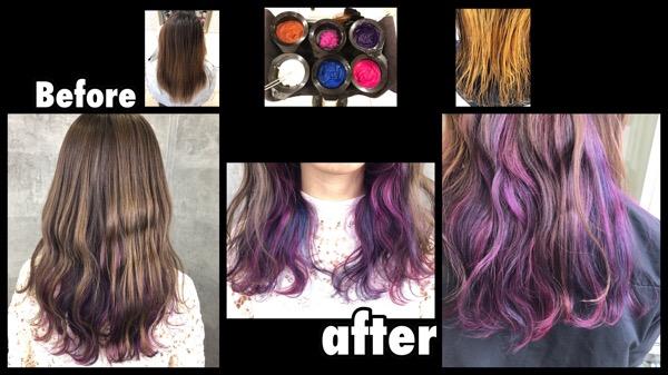 大阪でユニコーンインナーカラーをピンクパープルベースでノアカラーした!!【かなさん】の髪