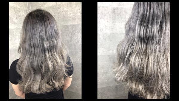 大阪で白髪を染めながらアールブリーチでホワイトグラデーションを作ってます!!【ともかさん】の髪