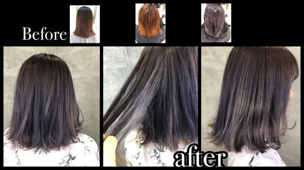 大阪でアールブリーチからの濃厚なピンクラベンダーグレーをノアでツヤピカに!【ゆまさん】の髪
