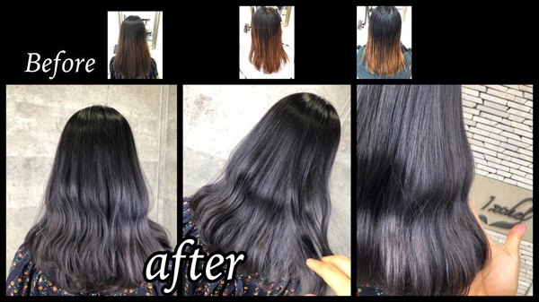 大阪でアールブリーチで2回ブリーチからのラベンダーシルバーのグラデーションカラー【まうさん】の髪