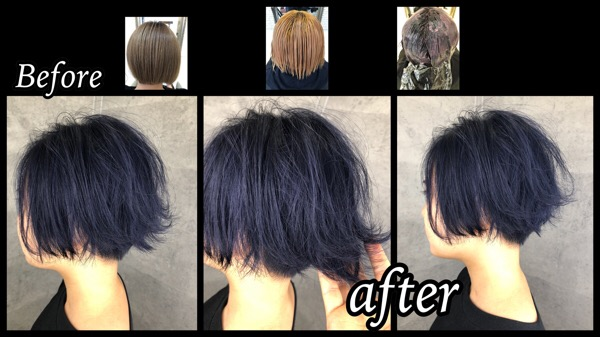 大阪でアールブリーチ履歴2〜3回で再現するブルーカラーの極み【みほさん】の髪