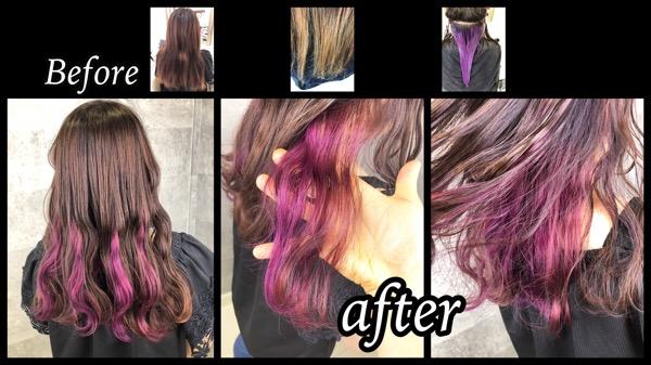 大阪でピンクアッシュとインナーカラーピンクのお洒落デザインカラーが可愛い!【ちはるさん】の髪