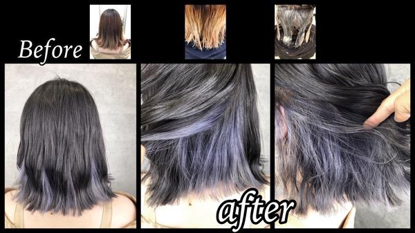 大阪でシルバーのインナーカラーをアールブリーチで作る!!【あやさん】の髪