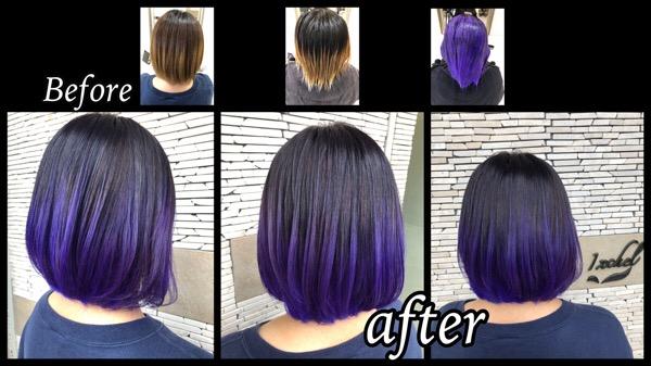 大阪でボブに似合うラベンダーパープルのグラデーションカラーがお洒落【ゆうかさん】の髪