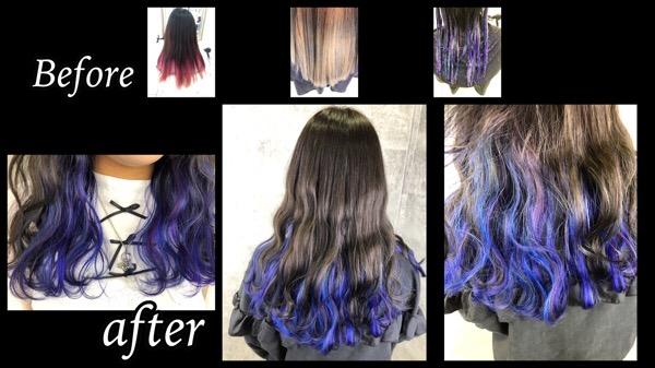 大阪で紫と青のインナーカラーをユニコーン風に可愛くしてみた【えみかさん】の髪