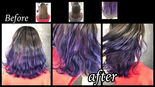 大阪でピンクパープルとラベンダーとブルーのグラデーションカラーが可愛い!【まほさん】の髪