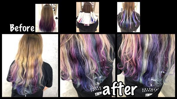 大阪でデザイングラデーションカラーをカラフルに彩りたい!【しずかさん】の髪