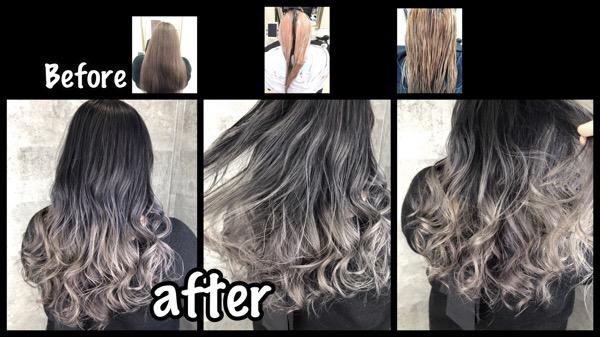 アールブリーチを繰り返して白髪を染めながらシルバーヘアにする方法【ゆみこさん】の髪