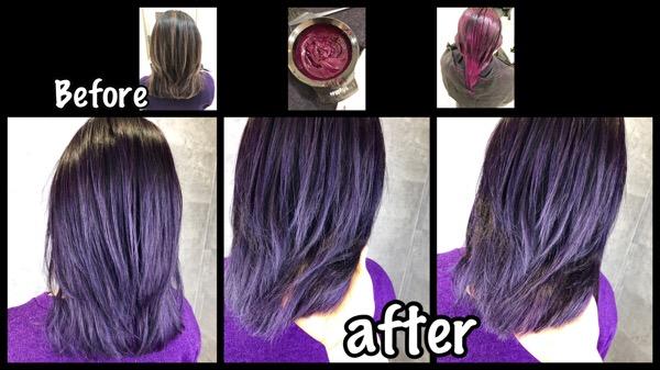 カラー剤とマニパニのダブルカラーで再現するレッドボルドー【れいまさん】の髪