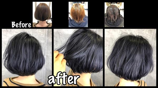 大阪でシルバーに退色するアールブリーチを使った濃厚バイオレットグレー【りゆさん】の髪
